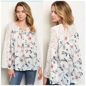 Bell sleeve floral blouse S, M, L NWT